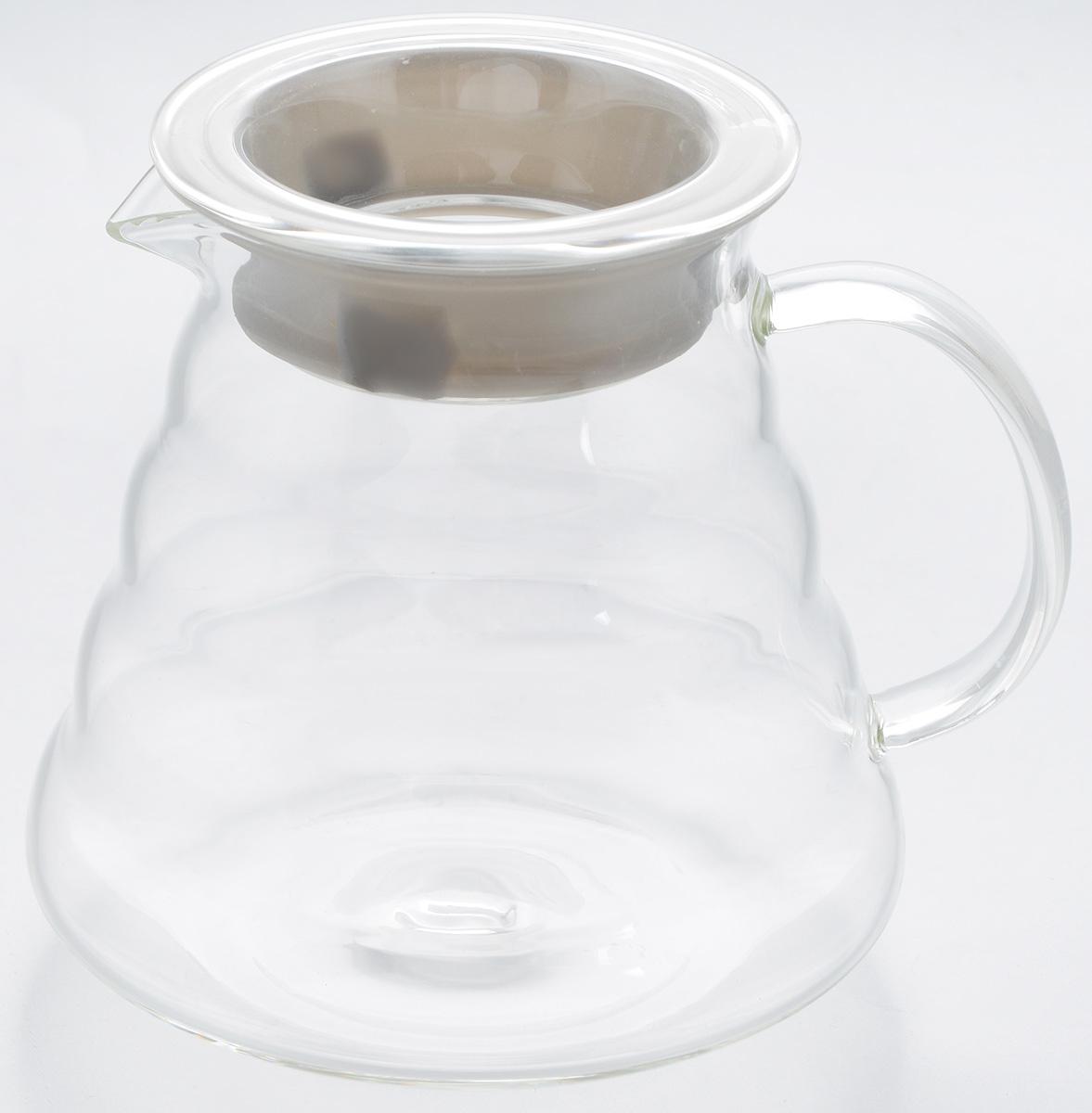 Чайник заварочный Hunan Provincial Тама, 500 мл15052Заварочный чайник Hunan Provincial Тама изготовлен из стекла. Пить чай из такого чайника сплошное удовольствие! Полностью прозрачная форма позволяет любоваться цветом своего любимого напитка. В этом чайнике не предусмотрена колба для заваривания чая. Крышка надежно крепится с помощью силиконовой вставки, и не может выпасть даже если чайник перевернуть кверху дном. Именно поэтому данный чайник является лучшей сервировочной посудой для связанного чая и фруктово-ягодных настоев. Диаметр чайника (по верхнему краю): 7,5 см. Высота чайника (без учета крышки): 11 см. Высота чайника (с учетом крышки): 11,5 см.