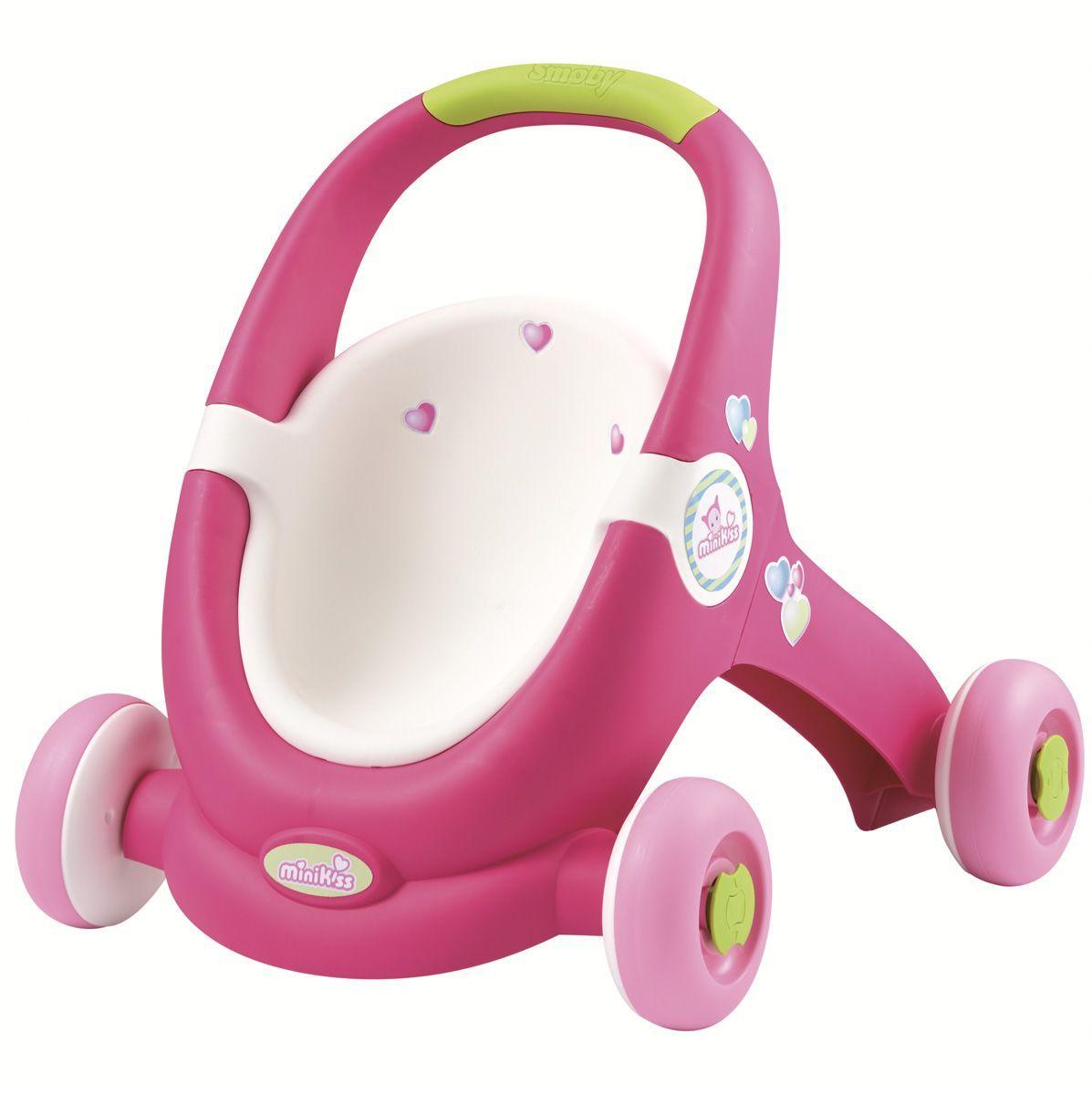 Smoby Транспорт для кукол Ходунки-коляска210201Ходунки Smoby Cotoons помогают малышам делать первые шаги безопасно. Коляска-ходунки подходит для детей в возрасте от 1 года. Используя эту коляску как ходунки, ребенок начинает увереннее ходить. Если ребенок устал ходить, то колеса можно заблокировать, чтобы каталка не укатилась. В коляске можно перевозить пупсов до 30 см.