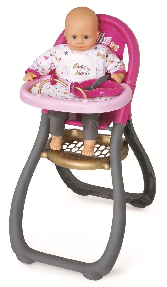 Smoby Мебель для кукол Стульчик для кормления Ваby Nurse220310Стульчик для кормления кукол Smoby Ваby Nurse подходит для кукол до 42 см. Высота стула 60 см. На столе есть счеты и тарелка с ложкой. Кукла в комплект не входит.