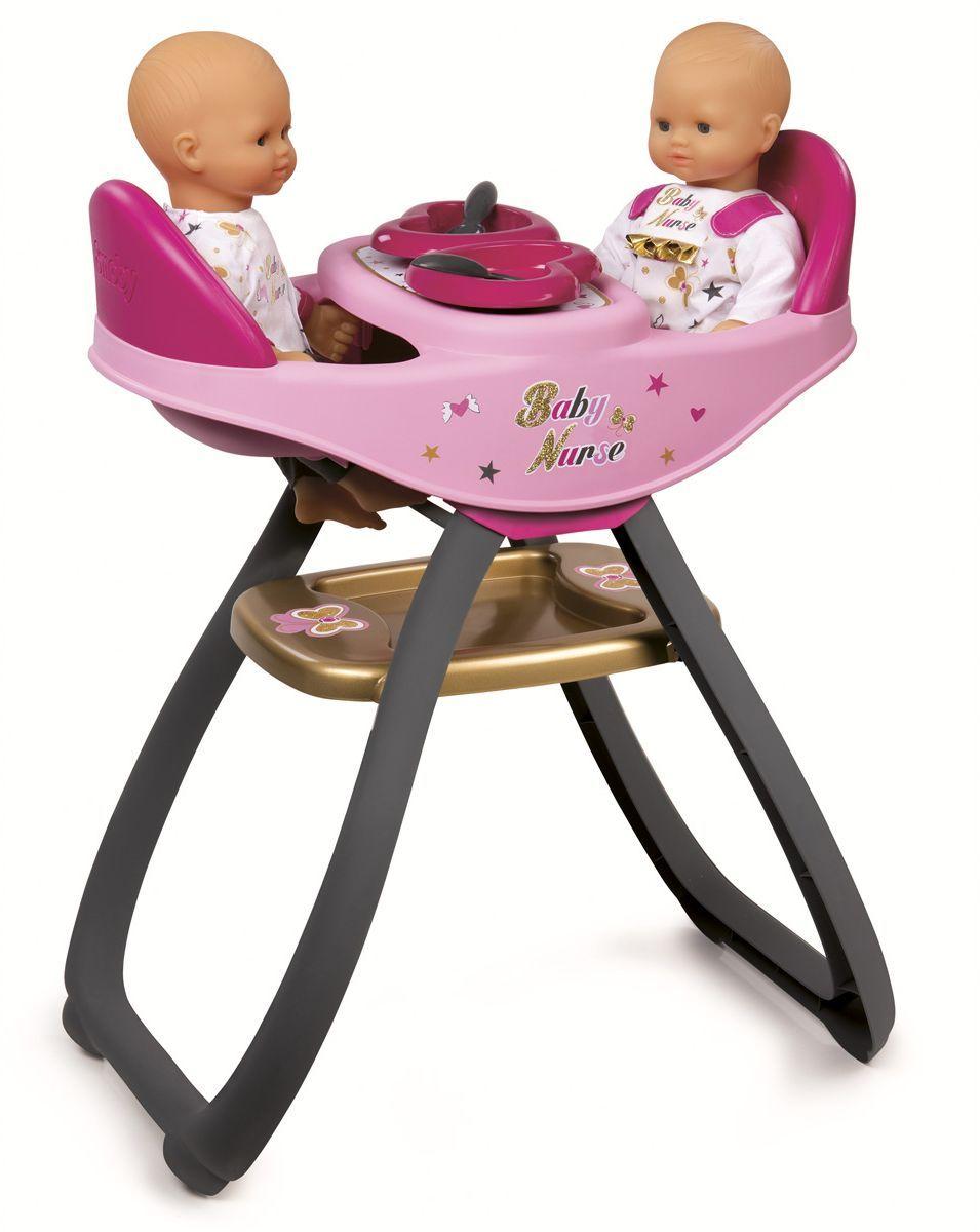 Smoby Мебель для кукол Стульчик для кормления Baby Nurse220315Стульчик для кормления кукол Smoby Baby Nurse подходит для пупсов до 42 см. Комплект: стульчик для двух кукол, 2 ложки, 2 тарелки. Кукла в набор не входит.