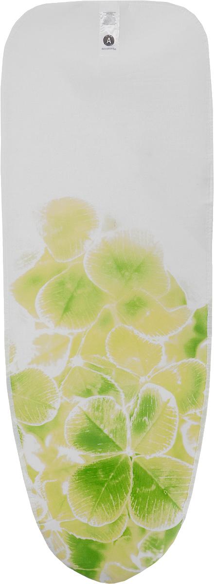 Чехол для гладильной доски Brabantia, цвет: белый, салатовый, 110 х 30 см194801_салатовыйЧехол для гладильной доски Brabantia, выполненный из хлопка, с красочным принтом, подарит вашей доске новую жизнь и создаст идеальную поверхность для глажения и отпаривания белья. Чехол разработан специально для гладильных досок Brabantia и подходит для большинства утюгов и паровых систем. Благодаря системе фиксации (эластичный шнурок с ключом для натяжения и резинка с крючками по центру) чехол легко крепится к гладильной доске, а поверхность всегда остается гладкой и натянутой. Размер чехла: 110 х 30 см.