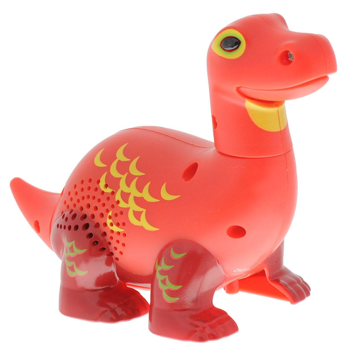DigiFriends Интерактивная игрушка Динозавр Appolo88281-6У вас есть шанс получить уникального домашнего питомца - поющего динозавра. Не каждый может похвастаться этим. Интерактивная игрушка DigiFriends Динозавр Appolo - это умное животное, которое будет развлекать вас различными мелодиями, пением и ревом. Для активизации динозавра необходимо посвистеть или похлопать в ладоши. Игрушка издает 55 вариантов песен и рев динозавра, также динозавр повторяет то, что вы сказали. Такая игрушка станет незабываемым подарком для любого ребенка. Малыш будет увлеченно играть с динозавром, прослушивая различные мелодии. Для работы игрушки рекомендуется докупить 3 батарейки типа LR44 (товар комплектуется демонстрационными).