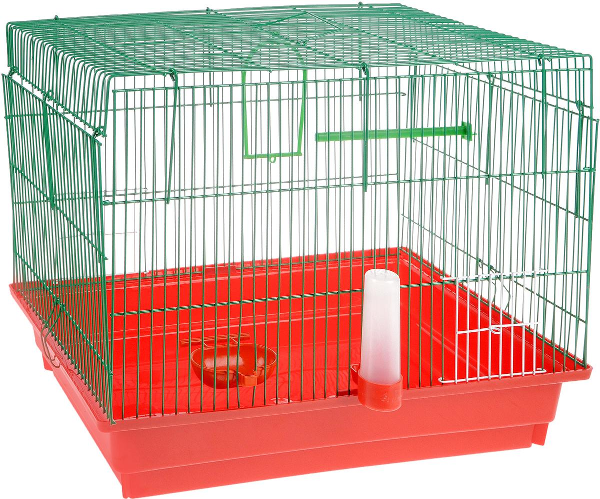 Клетка для птиц ЗооМарк, цвет: красный поддон, зеленая решетка, 50 х 31 х 41 см470КЗКлетка ЗооМарк, выполненная из полипропилена и металла с эмалированным покрытием, предназначена для птиц. Изделие состоит из большого поддона и решетки. Клетка снабжена металлической дверцей. Она удобна в использовании и легко чистится. Клетка оснащена жердочкой, кольцом для птицы, поилкой, кормушкой и подвижной ручкой для удобной переноски.