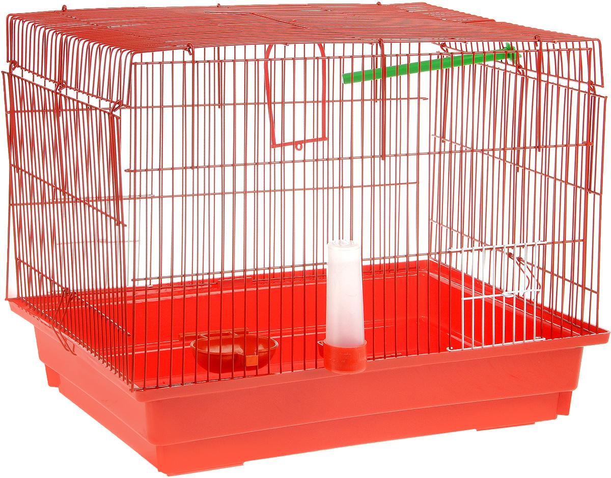 Клетка для птиц ЗооМарк, цвет: красный поддон, красная решетка, 50 х 31 х 41 см470КККлетка ЗооМарк, выполненная из полипропилена и металла с эмалированным покрытием, предназначена для птиц. Изделие состоит из большого поддона и решетки. Клетка снабжена металлической дверцей. Она удобна в использовании и легко чистится. Клетка оснащена жердочкой, кольцом для птицы, поилкой, кормушкой и подвижной ручкой для удобной переноски.