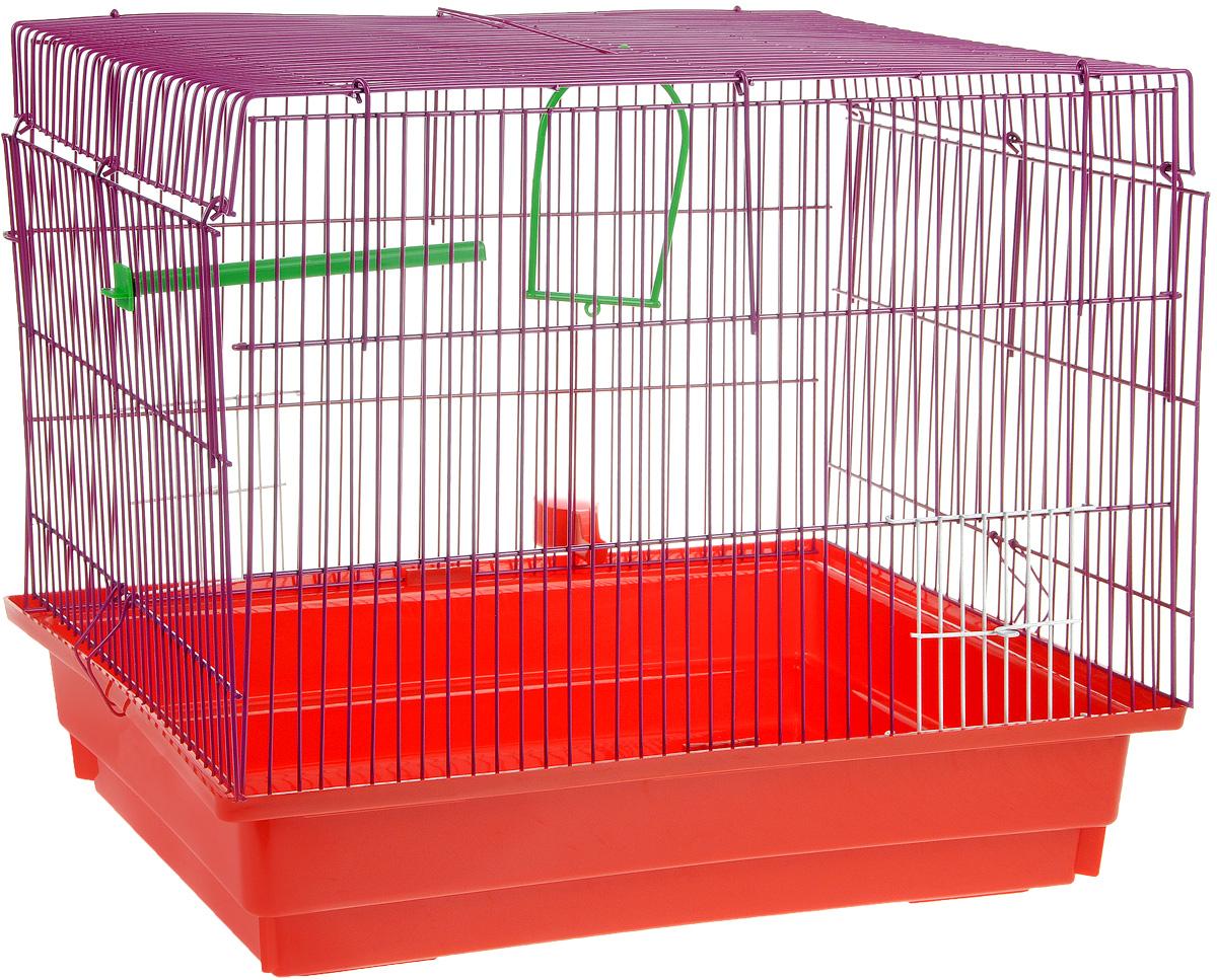 Клетка для птиц ЗооМарк, цвет: красный поддон, фиолетовая решетка, 50 х 31 х 41 см470КФКлетка ЗооМарк, выполненная из полипропилена и металла с эмалированным покрытием, предназначена для птиц. Изделие состоит из большого поддона и решетки. Клетка снабжена металлической дверцей. Она удобна в использовании и легко чистится. Клетка оснащена жердочкой, кольцом для птицы, поилкой, кормушкой и подвижной ручкой для удобной переноски.