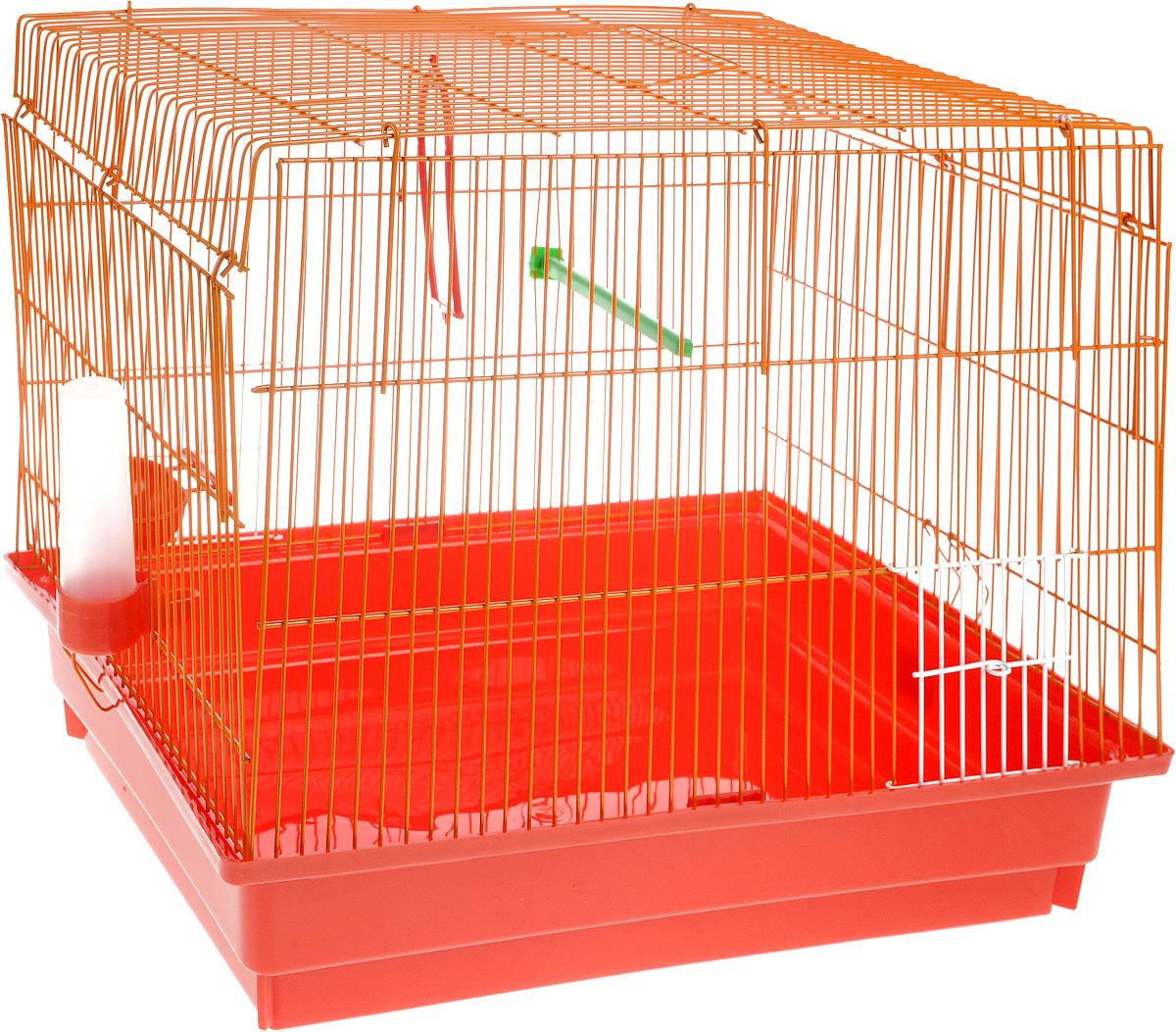 Клетка для птиц ЗооМарк, цвет: красный поддон, оранжевая решетка, 50 х 31 х 41 см470КОКлетка ЗооМарк, выполненная из полипропилена и металла с эмалированным покрытием, предназначена для птиц. Изделие состоит из большого поддона и решетки. Клетка снабжена металлической дверцей. Она удобна в использовании и легко чистится. Клетка оснащена жердочкой, кольцом для птицы, поилкой, кормушкой и подвижной ручкой для удобной переноски.