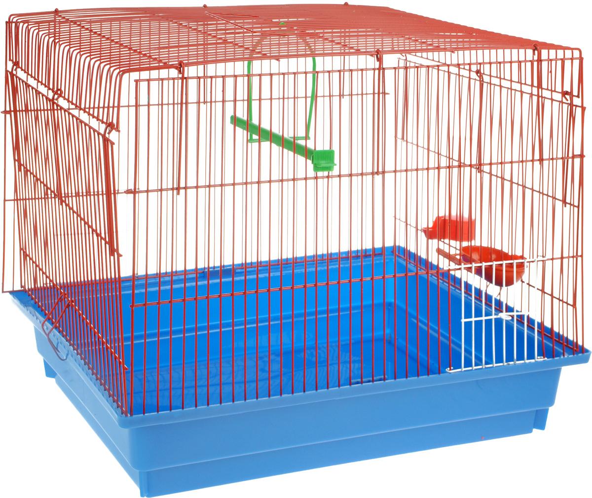 Клетка для птиц ЗооМарк, цвет: синий поддон, красная решетка, 50 х 31 х 41 см470СККлетка ЗооМарк, выполненная из полипропилена и металла с эмалированным покрытием, предназначена для птиц. Изделие состоит из большого поддона и решетки. Клетка снабжена металлической дверцей. Она удобна в использовании и легко чистится. Клетка оснащена жердочкой, кольцом для птицы, поилкой, кормушкой и подвижной ручкой для удобной переноски.
