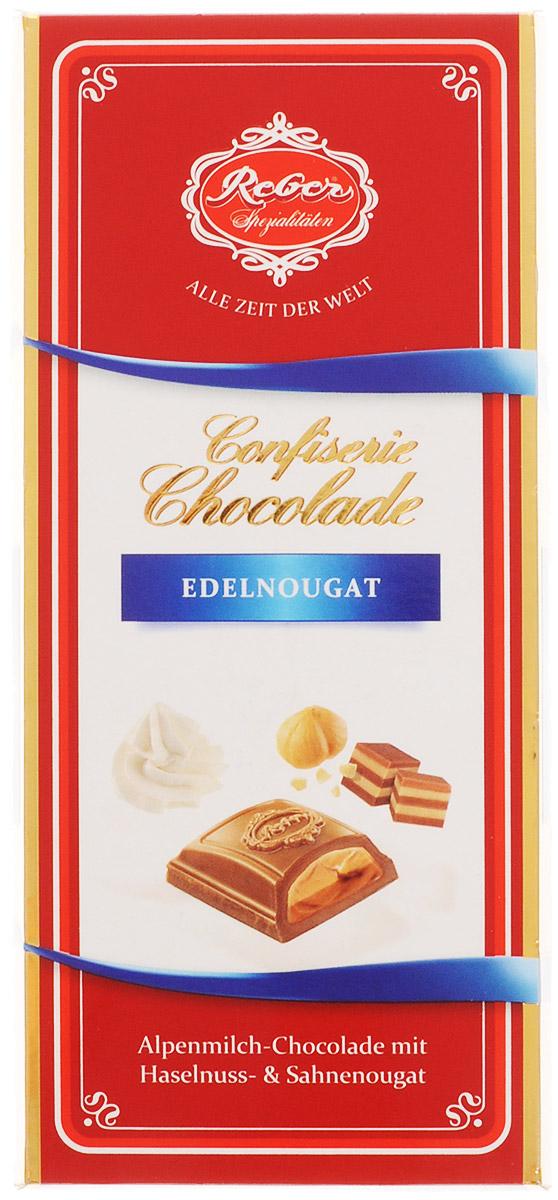 Reber Nougat молочный шоколад с ореховым и сливочным пралине, 100 г 1410133/7