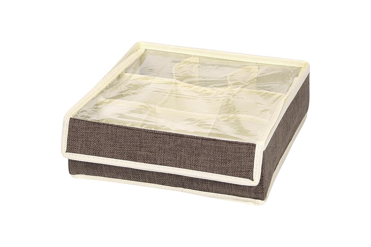 Кофр для хранения EL Casa, цвет: коричневый, 9 секций, 26 х 26 х 9 см840124Кофр для хранения EL Casa изготовлен из льна, который обеспечивает естественную вентиляцию, пропускает воздух и задерживает пыль. Изделие имеет жесткую конструкцию благодаря вставкам из плотного картона. Кофр специально предназначен для защиты вашей одежды от воздействия негативных внешних факторов: влаги и сырости, моли, выгорания, грязи. Кофр с 9 секциями подходит для хранения нижнего белья, колготок, носков и другой одежды. Он удобно складывается и раскладывается. В сложенном виде изделие занимает минимум места, его легко хранить и перевозить. Прозрачная крышка на липучке, выполненная из ПВХ, позволяет видеть содержимое кофра, не открывая его. Изделие поможет хранить вещи компактно и удобно. Подходит для размещения в шкафу, комоде.