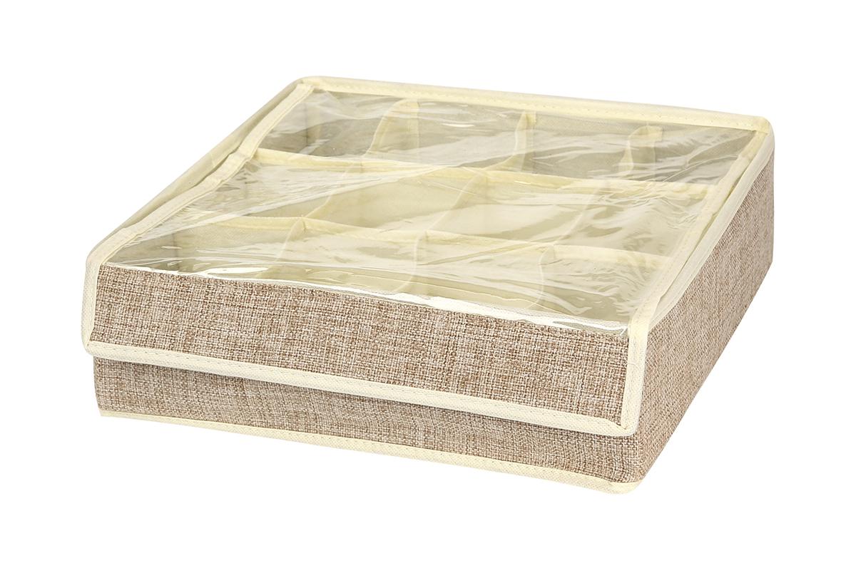 Кофр для хранения EL Casa, цвет: светло-бежевый, 12 секций, 32 х 32 х 10 см840131Кофр для хранения EL Casa изготовлен из льна, который обеспечивает естественную вентиляцию, пропускает воздух и задерживает пыль. Изделие имеет жесткую конструкцию благодаря вставкам из плотного картона. Кофр специально предназначен для защиты вашей одежды от воздействия негативных внешних факторов: влаги и сырости, моли, выгорания, грязи. Кофр с 12 секциями подходит для хранения нижнего белья, колготок, носков и другой одежды. Он удобно складывается и раскладывается. В сложенном виде изделие занимает минимум места, его легко хранить и перевозить. Прозрачная крышка на липучке, выполненная из ПВХ, позволяет видеть содержимое кофра, не открывая его. Изделие поможет хранить вещи компактно и удобно. Подходит для размещения в шкафу, комоде.