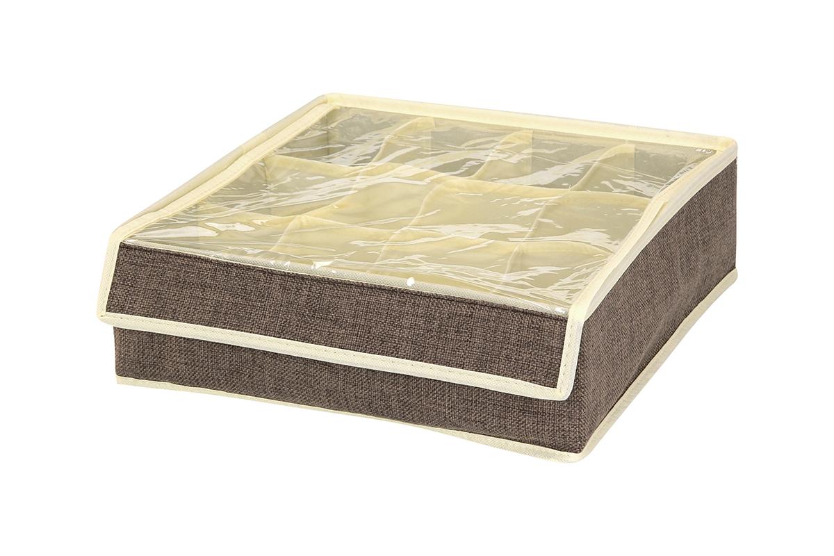Кофр для хранения EL Casa, цвет: коричневый, 12 секций, 32 х 32 х 10 см840133Кофр для хранения вещей EL Casa изготовлен из льна, который обеспечивает естественную вентиляцию, пропускает воздух и задерживает пыль. Изделие имеет жесткую конструкцию благодаря вставкам из плотного картона. Кофр специально предназначен для защиты вашей одежды от воздействия негативных внешних факторов: влаги и сырости, моли, выгорания, грязи. Кофр с 12 секциями подходит для хранения нижнего белья, колготок, носков и другой одежды. Он удобно складывается и раскладывается. В сложенном виде изделие занимает минимум места, его легко хранить и перевозить. Прозрачная крышка на липучке, выполненная из ПВХ, позволяет видеть содержимое кофра, не открывая его. Изделие поможет хранить вещи компактно и удобно. Подходит для размещения в шкафу, комоде.