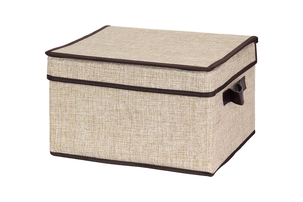 Кофр для хранения EL Casa, цвет: светло-бежевый, 32 х 27 х 20 см840158Кофр для хранения вещей EL Casa изготовлен из льна, который обеспечивает естественную вентиляцию, пропускает воздух и задерживает пыль. Изделие имеет жесткую конструкцию благодаря вставкам из плотного картона. Кофр специально предназначен для защиты вашей одежды от воздействия негативных внешних факторов: влаги и сырости, моли, выгорания, грязи. Естественность, экологичность, красота фактуры - те свойства, которые делают лен излюбленным материалом дизайнеров. Изделие имеет однотонную расцветку, благодаря чему впишется в интерьер любого стиля, от богемного бохо до сдержанного скандинавского. Кофр позволит организовать хранение перчаток, ремней, шарфов. Он удобно складывается и раскладывается, снабжен ручками для переноски. В сложенном виде изделие занимает минимум места, его легко хранить и перевозить. Такой кофр поможет хранить вещи компактно и удобно. Подходит для размещения в шкафу, комоде.
