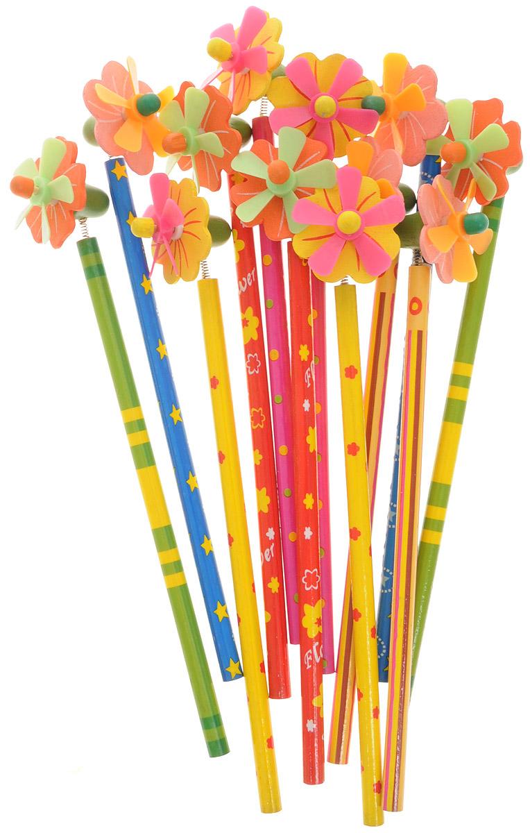 Эврика Набор карандашей с пружинкой Цветы 12 шт96132Набор Цветы из 12 простых карандашей, украшенных забавными цветочками на пружинке, - отличный подарок юному художнику или художнице. Во время работы карандашом маленький пропеллер на цветочке будет весело раскачиваться и крутиться, создавая дополнительный игровой момент. В наборе 12 карандашей с цветными корпусами и яркими цветочками.