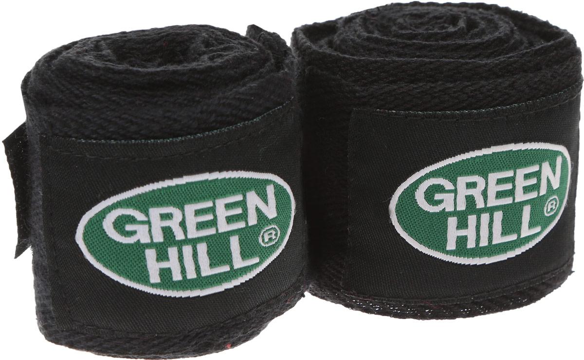 Бинт боксерский Green Hill, цвет: черный, зеленый, 2,5 м, 2 шт. ВС-6235ВС-6235-25Боксерский бинт Green Hill выполнен из хлопчато-бумажной ткани, не тянется, обеспечивает плотное стягивание кистей рук. Боксерский бинт используется для бинтования кистей рук, для предотвращения травм суставов пальцев, обеспечивается такая защита путем плотного стягивания пальцев бинтом друг к другу, что создает единую площадь удара и способствует распределению нагрузки. Бинт впитывает пот ладоней, не давая загрязняться внутренней части перчаток. Длина бинта: 2,5 м. Ширина бинта: 4,8 см.