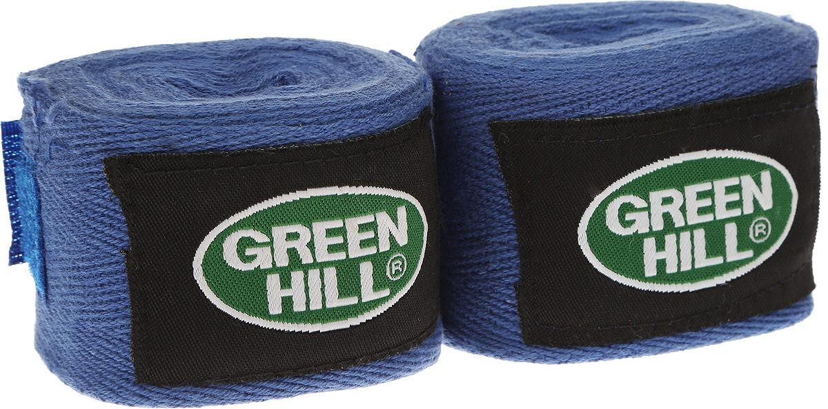 Бинт боксерский Green Hill, цвет: синий, черный, 3,5 м, 2 штВС-6235-35Боксерский бит Green Hill изготовлен из хлопка с добавлением эластана. Он растягивается, обеспечивает плотное стягивание кистей рук, крепится на липучке. Боксерский бинт используется для бинтования кистей рук, для предотвращения травм суставов пальцев, обеспечивается такая защита путем плотного стягивания пальцев бинтом друг к другу, что создает единую площадь удара и способствует распределению нагрузки. Бинт впитывает пот ладоней, не давая загрязняться внутренней части перчаток. Длина бинтов: 3,5 м. Ширина бинтов: 5 см.