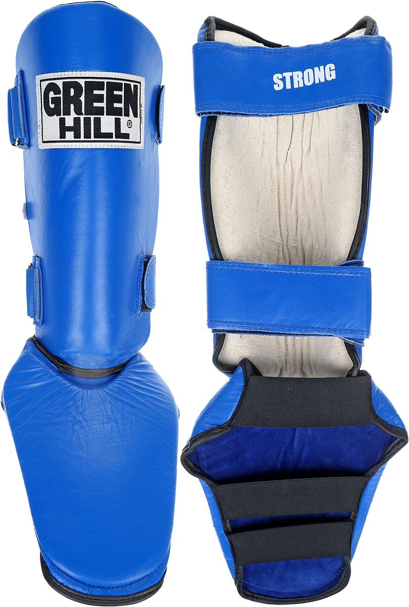 Защита голени и стопы Green Hill Strong, цвет: синий, черный. Размер S. SIPS-6135aSIPS-6135aЗащита голени и стопы Green Hill Strong необходима при занятиях спортом для защиты пальцев и суставов от вывихов, ушибов и прочих повреждений. Выполнена из высококачественной натуральной кожи. Наполнитель изготовлен из вспененного полимера. Защита закрепляется при помощи ремней на липучках. Защита правильно подобранного размера надежно сидит на ноге, не спадает и не сваливается во время поединка. Длина голени: 31 см. Ширина голени: 14 см. Длина стопы: 19 см. Ширина стопы: 17 см.