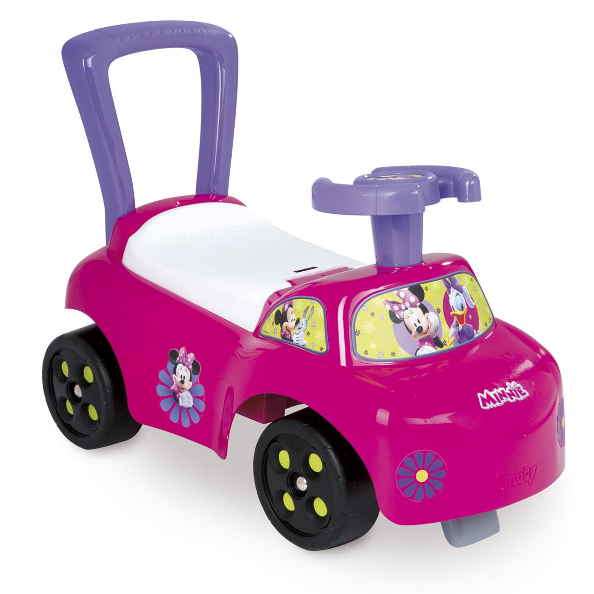 Smoby Каталка Minnie443011Каталка обладает защитой от опрокидывания, ручкой-спинкой и ящиком под сиденьем. Каталка помогает ребенку развивать ноги и весело проводить время. Для детей от 10 месяцев.