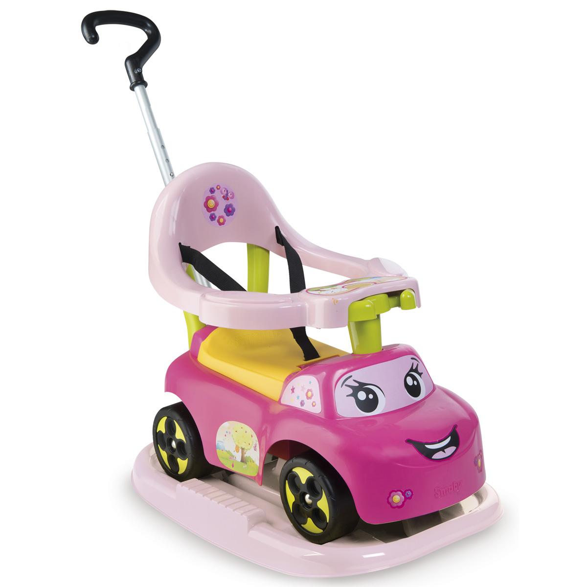 Smoby Каталка-качалка трансформер цвет розовый720608Каталка-трансформер растет вместе с ребенком. Сначала это качалка для детей от 6 месяцев. Потом родители катают деток с помощью родительской ручки, а затем детки могут ездить сами. Каталка оснащена ремнями безопасности, кольцом безопасности, подножками для малышей, съемной родительской ручкой, электронным рулем и ящиком под сидением. Возраст: от 6мес.