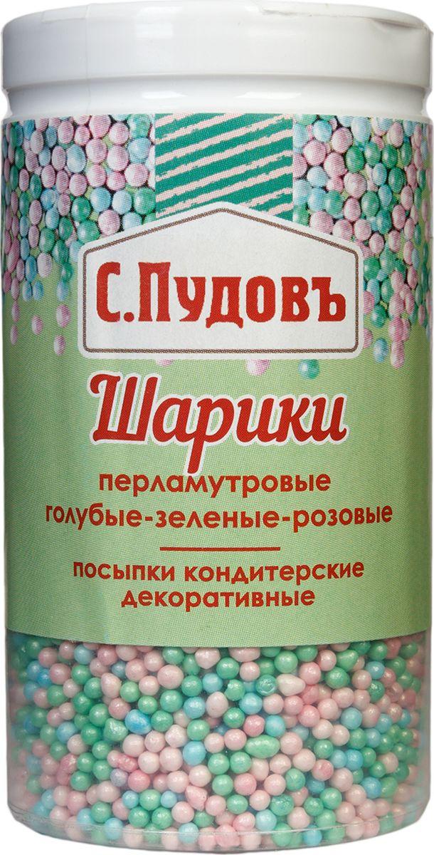 Пудовъ посыпка шарики перламутровые голубые-зеленые-розовые, 40 г