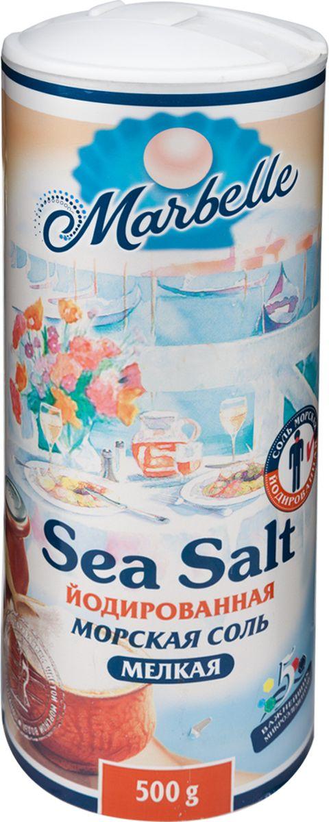 Marbellе морская соль йодированная мелкая, 500 г4607012293077Йодированная морская соль – это не только продукт, без которого не обходится практически ни одно блюдо, но и богатый полезными микроэлементами ингредиент. Продается в удобной таре с дозатором.