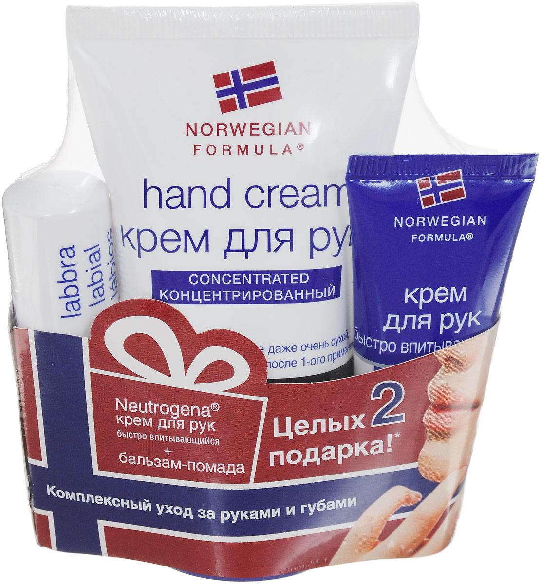 Neutrogena Набор Норвежская Формула Крем для рук с запахом, 50 мл, Бальзам-помада для губ, 4,8г + Подарок Крем для рук быстро впитывающийся, 15 мл