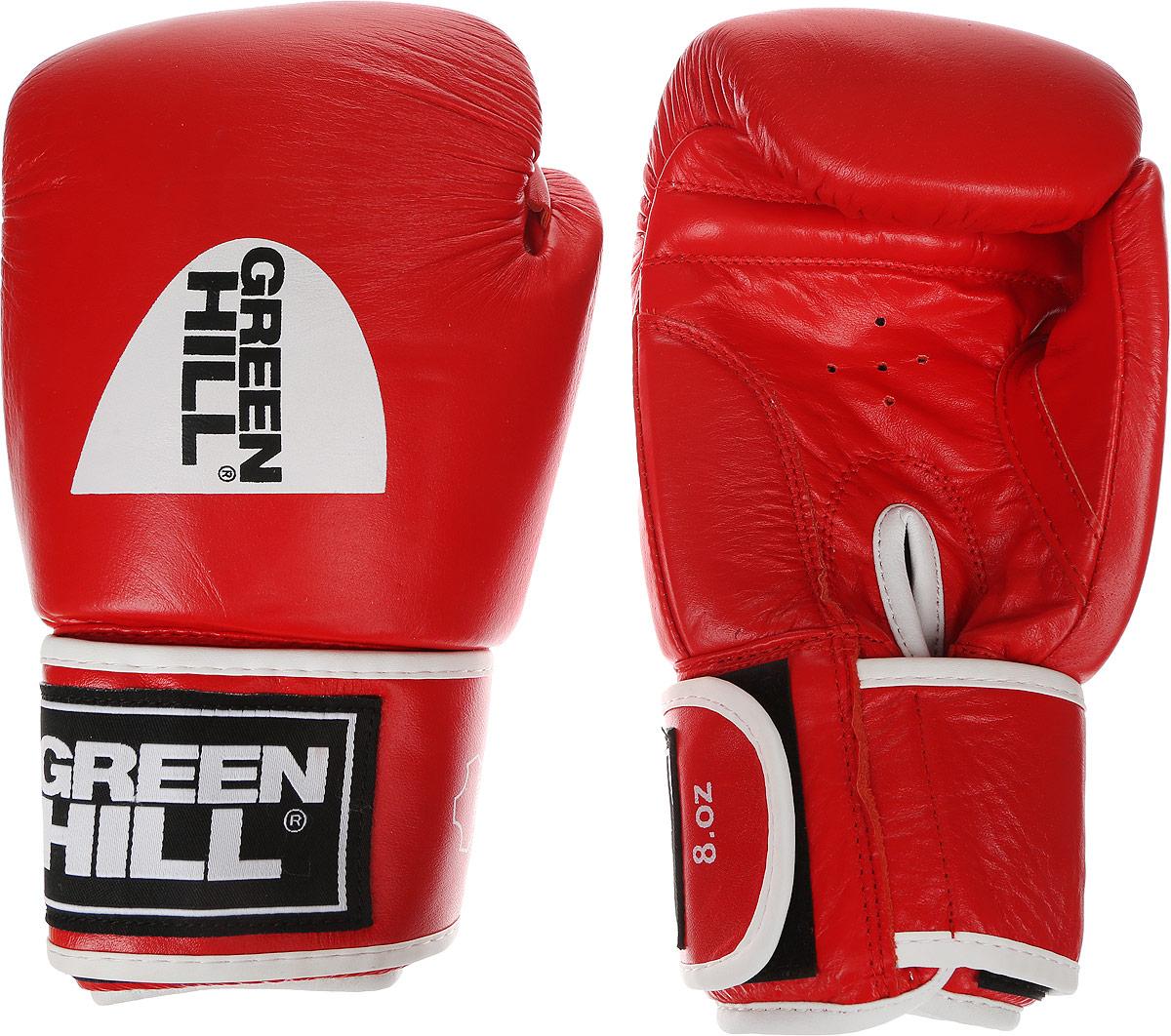 Перчатки боксерские Green Hill Gym, цвет: красный, белый. Вес 8 унцийBGG-2018Боксерские перчатки Green Hill Gym подходят для всех видов единоборств где применяют перчатки. Подойдет как для бокса, так и для кикбоксинга. Новички и профессионалы высоко ценят эту модель за универсальность. Верхняя часть перчатки выполнена из натуральной кожи, наполнитель - пенополиуретан. Перфорированная поверхность в области ладони позволяет создать максимально комфортный терморежим во время занятий. Закрепляется на руке при помощи липучки.
