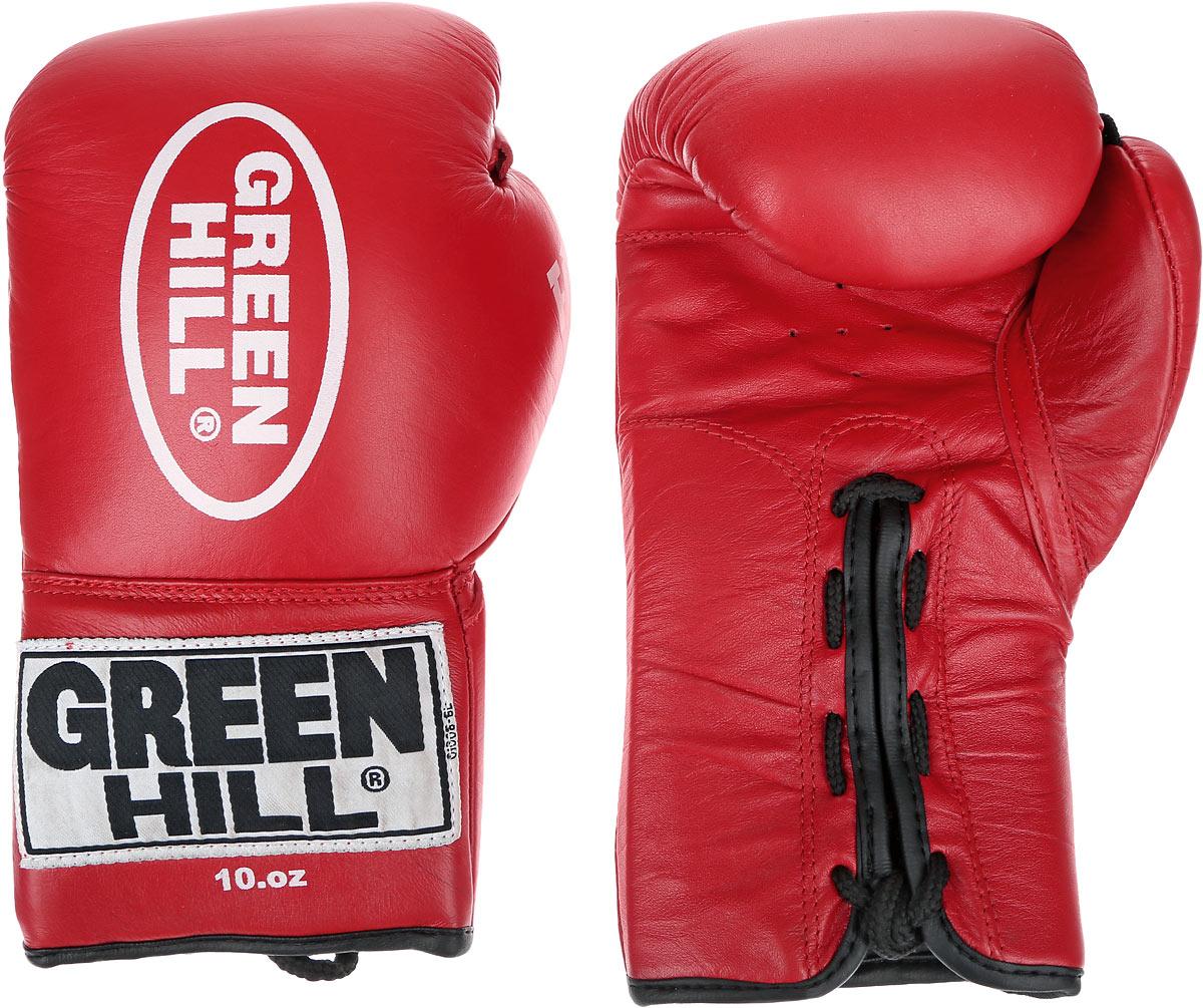 Перчатки боксерские Green Hill Force, цвет: красный, белый. Вес 10 унций. BGF-1215BGF-1215Боксерские перчатки Green Hill Force предназначены для использования профессионалами и любителями. Верх выполнен из натуральной кожи, наполнитель - из вспененного полимера. Отверстия в области ладони позволяет создать максимально комфортный терморежим во время занятий. Манжет на шнуровке способствует быстрому и удобному надеванию перчаток, плотно фиксирует перчатки на руке.