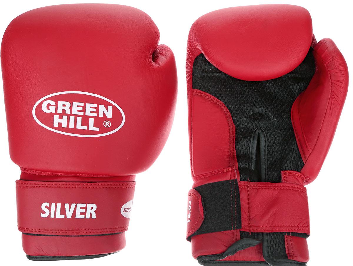 Перчатки боксерские Green Hill Silver, цвет: красный, белый. Вес 14 унций. BGS-2039BGS-2039Боксерские перчатки Green Hill Silver подойдут для легких спаррингов и тренировок. Верх выполнен из высококачественной искусственной кожи, наполнитель - из вспененного полимера. Материал на ладони выполнен по технологии, которая позволяет руке дышать. Манжет на липучке способствует быстрому и удобному надеванию перчаток, плотно фиксирует перчатки на руке.