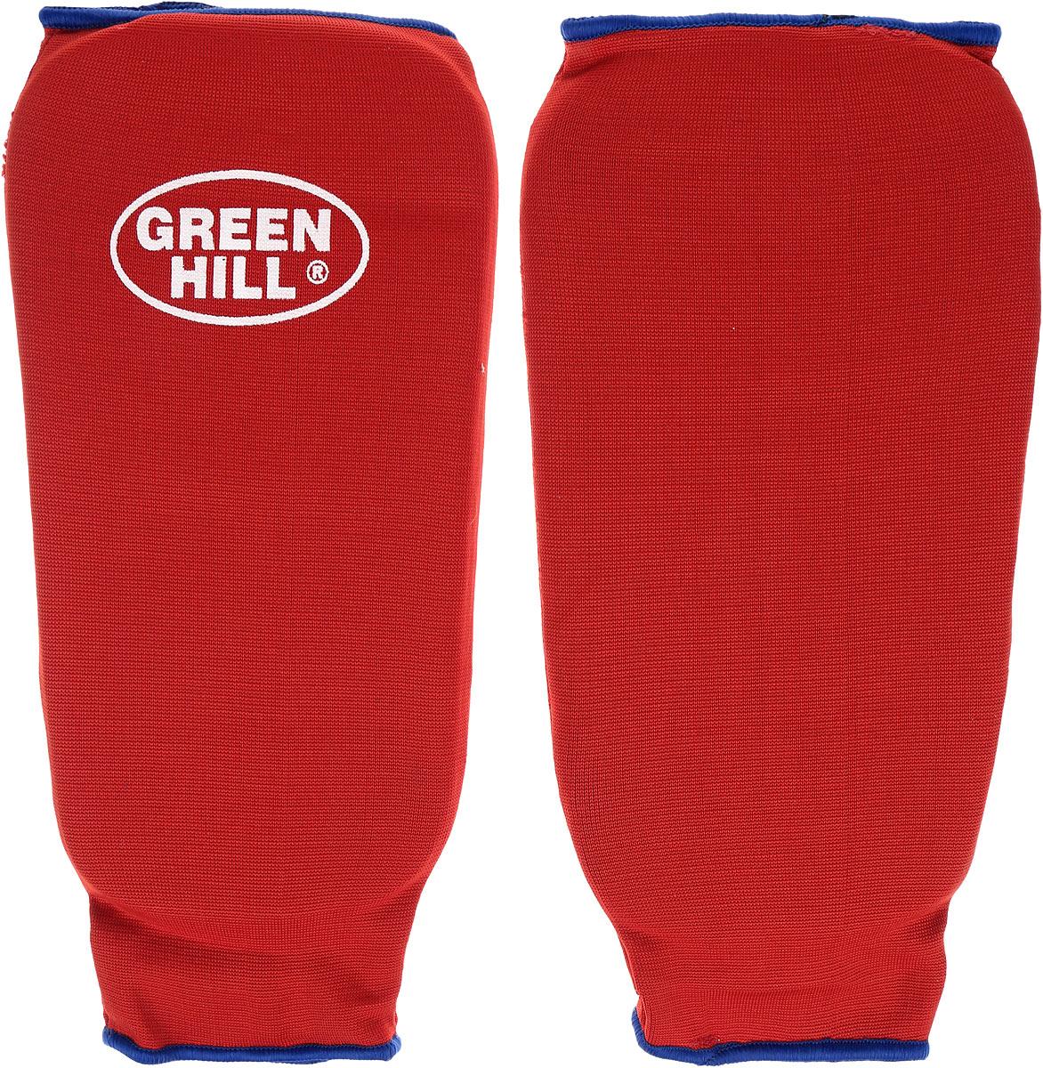 Защита голени Green Hill, цвет: красный, синий. Размер M. SPC-6210SPC-6210Защита голени Green Hill с наполнителем, выполненным из вспененного полимера, необходима при занятиях спортом для защиты суставов от вывихов, ушибов и прочих повреждений. Накладки выполнены из высококачественного эластана и хлопка. Длина голени: 26 см. Ширина голени: 14 см.
