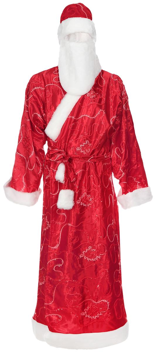 Костюм маскарадный Eva Дед Мороз. Размер 48-54А141Дед Мороз - главный новогодний персонаж. Маскарадный костюм Дед Мороз идеально подойдет для новогоднего праздника. Костюм состоит из халата, шапки и бороды. Выполнен из полиэстера красного цвета, украшенный оригинальным узором и отделкой под мех. Такой костюм привлечет к вам внимание. Радуйте себя и родных, дарите подарки и хорошее настроение! Откройте для себя удивительный мир сказок и грез. Почувствуйте волшебные минуты ожидания праздника, создайте новогоднее настроение вашим дорогим и близким. Размер: 48-54. Длина халата: 152 см. Длина рукава халата: 58 см. Длина бороды: 29 см. Высота шапки: 25 см. Обхват шапки: 20 см.