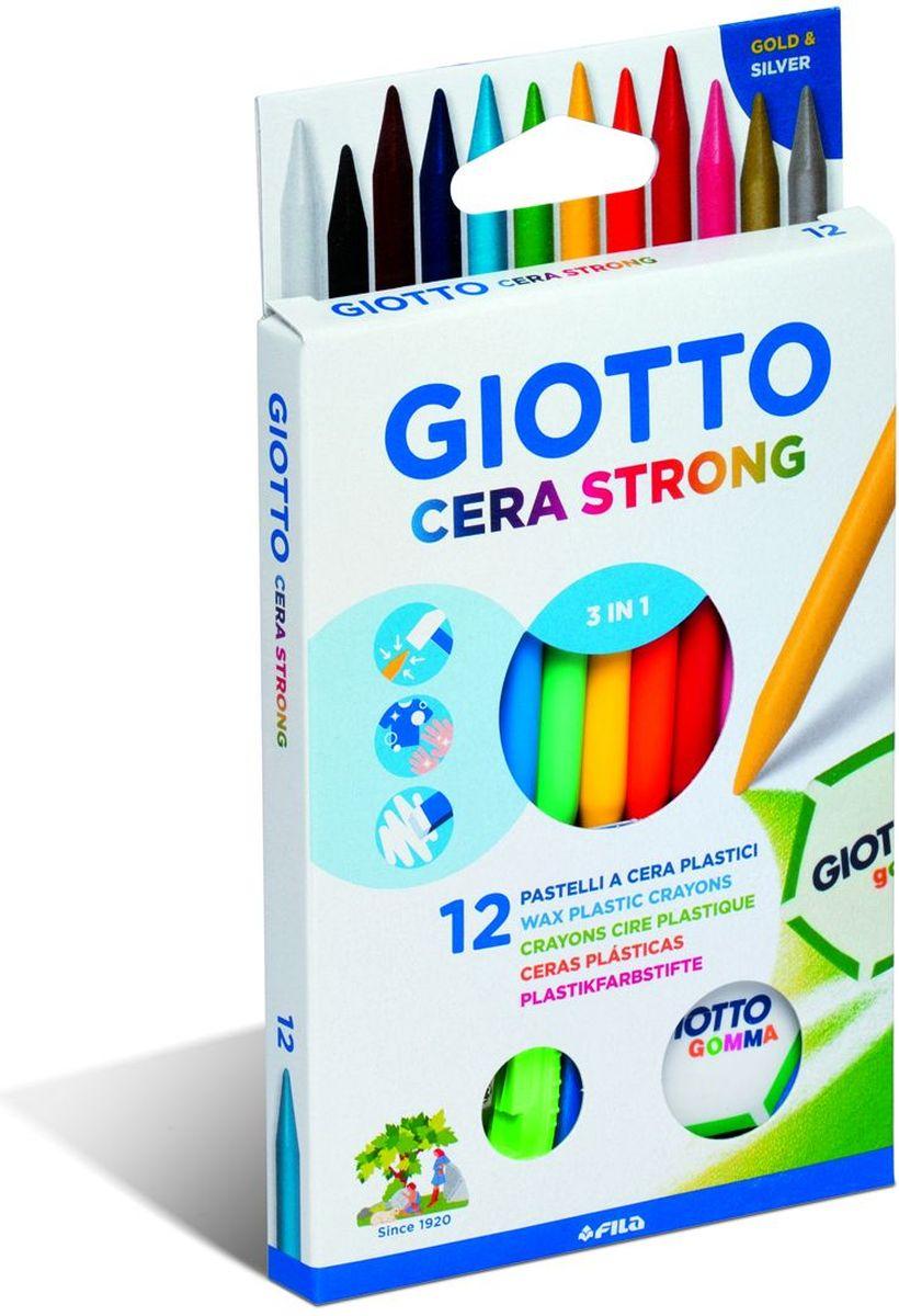 Giotto Набор восковых карандашей Cera Strong с ластиком и точилкой 12 шт281800Набор Giotto Cera Strong включает в себя 12 пластиковых карандашей круглой формы с высоким содержанием воска. Ярко и легко рисуют, стираются с помощью ластика. Диаметр карандаша 8 мм. В набор входят: 12 карандашей, ластик и точилка.