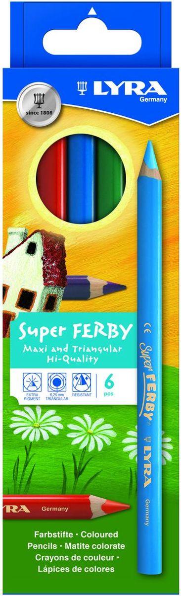 Lyra Набор цветных карандашей Super Ferby 6 штL3721060Набор Lyra Super Ferby включает 6 цветных карандашей. Диаметр грифеля 6,25 мм, длина карандаша 175 мм. Эргономичная округло-треугольная форма. Корпус - сертифицированное натуральное дерево.