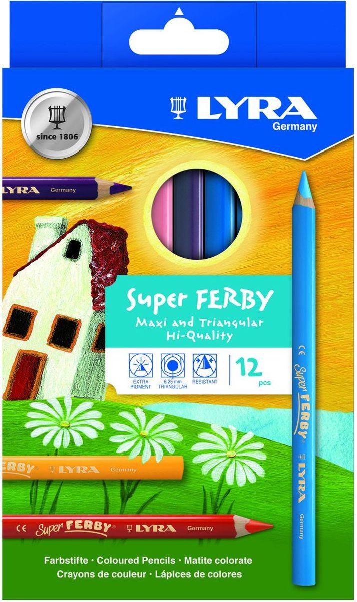 Lyra Набор цветных карандашей Super Ferby 12 штL3721120Набор Lyra Super Ferby включает 12 цветных карандашей. Диаметр грифеля 6,25 мм, длина карандаша 175 мм. Эргономичная округло-треугольная форма. Корпус - сертифицированное натуральное дерево.