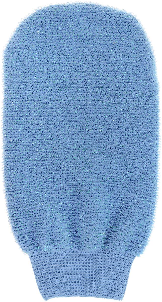 Мочалка-рукавица массажная Riffi, двухсторонняя, цвет: голубой907_голубойМочалка-рукавица массажная Riffi, двухсторонняя, цвет: голубой