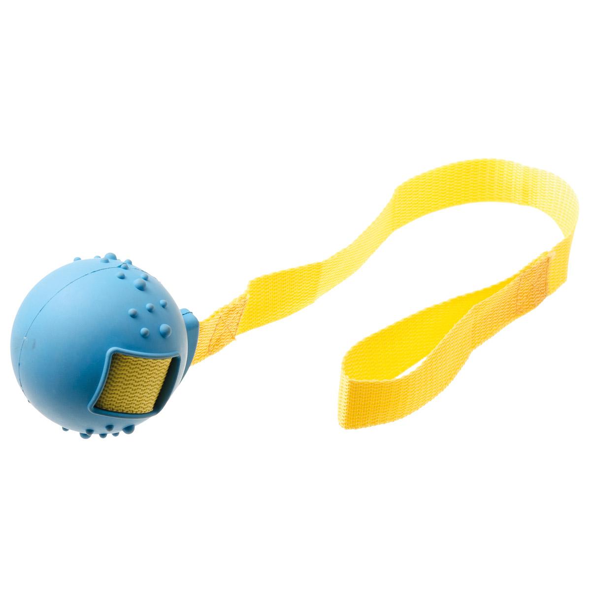 Игрушка для собак V.I.Pet Мяч на ручке, диаметр 8 см13125Предназначена для активной игры с питомцем в перетягивание и бросание. С этой игрушкой с удовольствием будут играть и щенки, и взрослые собаки. Изготовлена из экологически чистой резины - абсолютно нетоксичной и безопасной, моется водой.