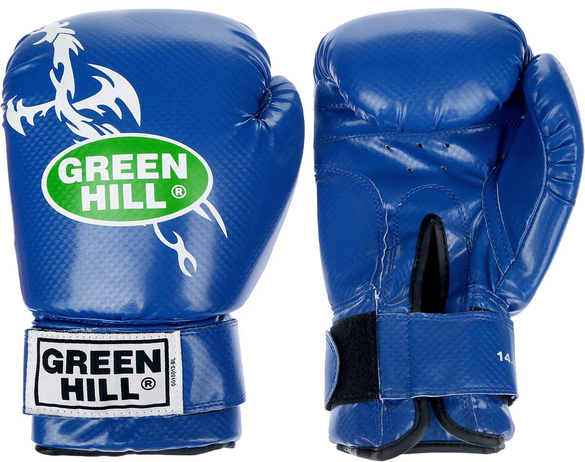 Перчатки боксерские Green Hill Dragon, цвет: синий, белый. Вес 14 унций. BGD-2056BGD-2056Боксерские перчатки Green Hill Dragon подойдут для легких спаррингов и тренировок. Верх выполнен из высококачественной искусственной кожи, наполнитель - из вспененного полимера. Отверстия в области ладони позволяют руке дышать. Манжет на липучке способствует быстрому и удобному надеванию перчаток, плотно фиксирует перчатки на руке.