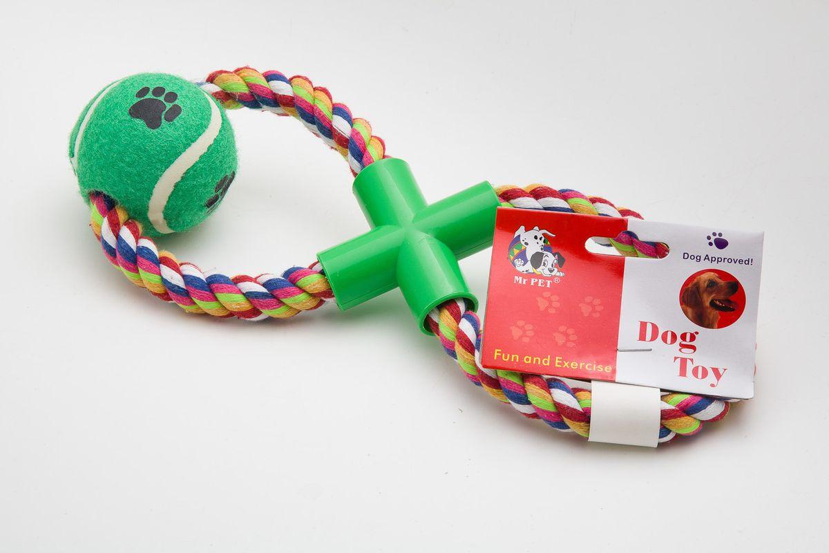 Игрушка канатная MrPet Восьмерка с мячем, 43 см2101