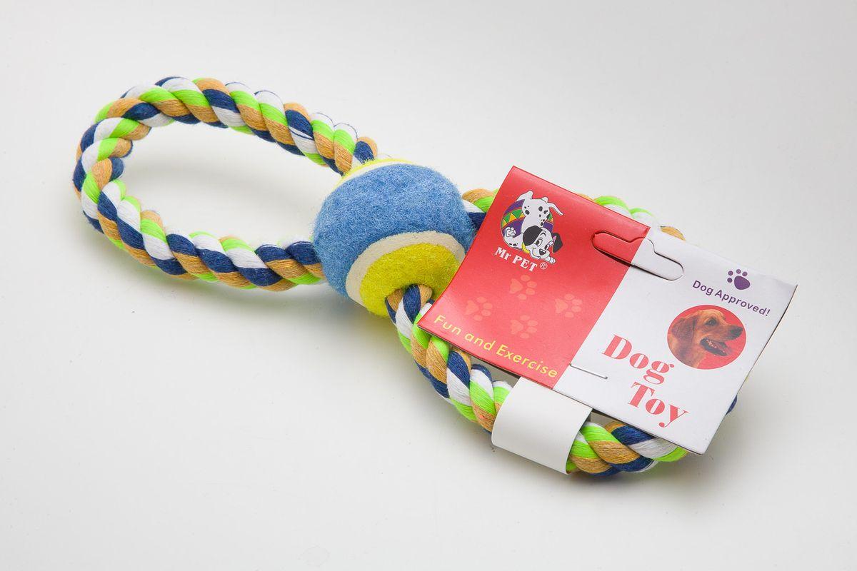 Игрушка канатная MrPet Восьмерка с мячем, 25 см2102