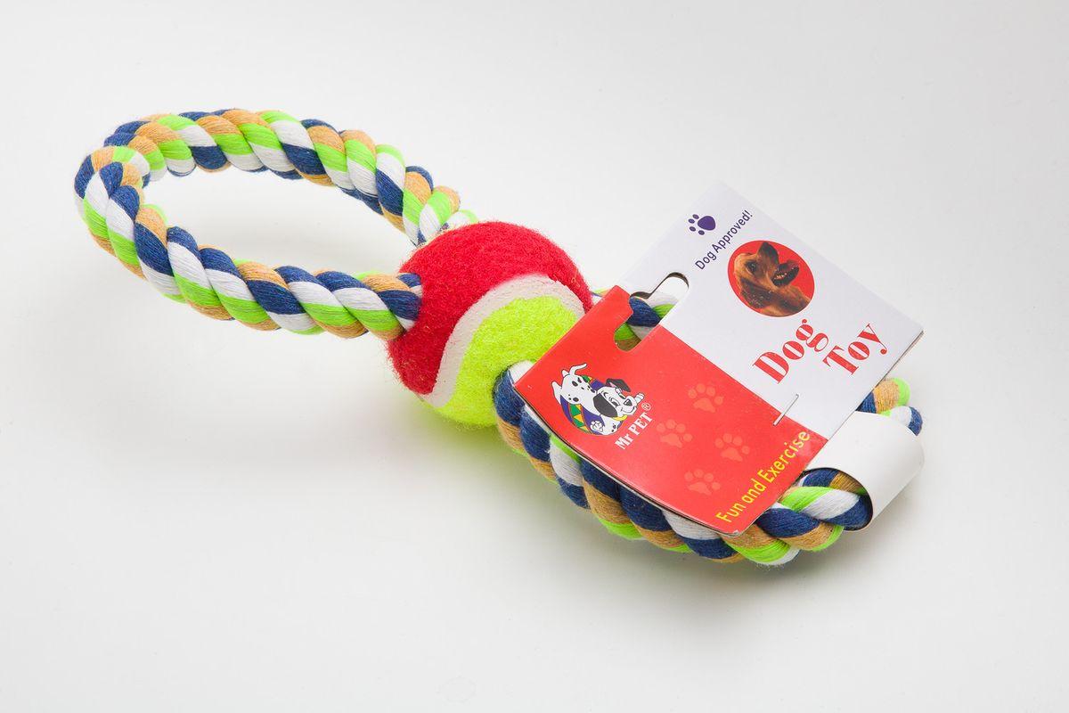 Игрушка канатная MrPet Восьмерка с мячем, цвет: желтый, красный, 25 см2102a