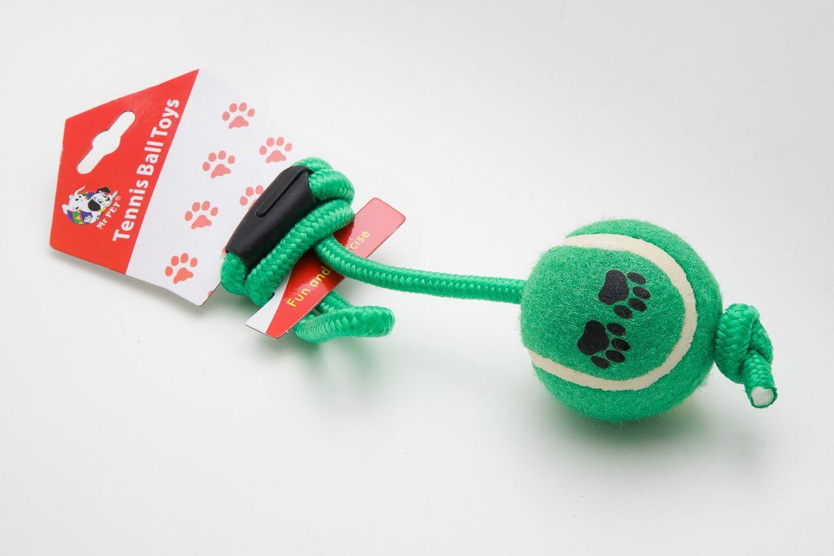 Игрушка MrPet Тянучка с теннисным мячем, цвет: зеленый, 51 см2103a