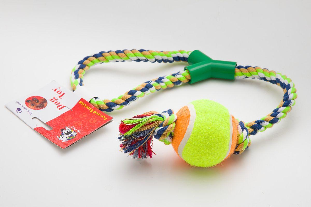 Игрушка канатная MrPet, с теннисным мячом, 53 см2104