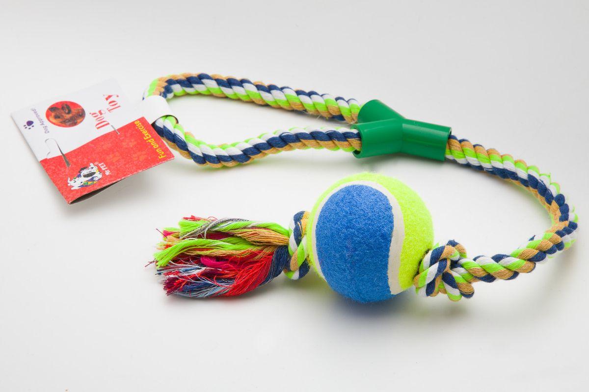 Игрушка канатная MrPet, с теннисным мячом, цвет: желтый, синий, 53 см2104a