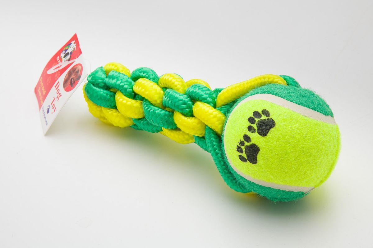 Игрушка канатная MrPet, с теннисным мячом, 16,5 см2105