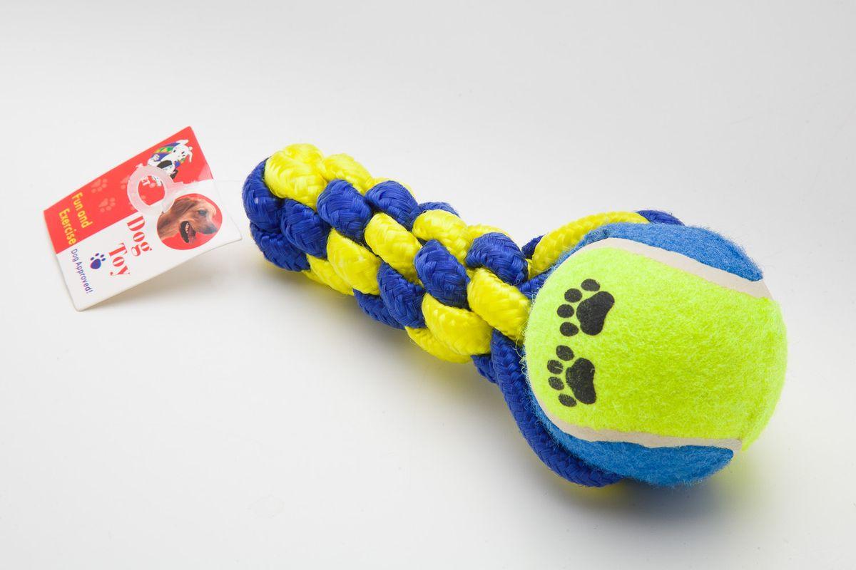 Игрушка канатная MrPet, с теннисным мячом, цвет: желтый, синий, 16,5 см2105a