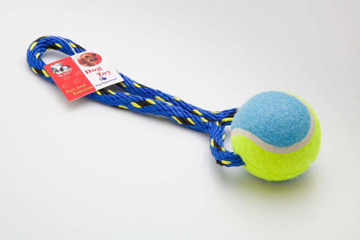 Игрушка канатная MrPet, с теннисным мячом, цвет: синий, 18 см2106a