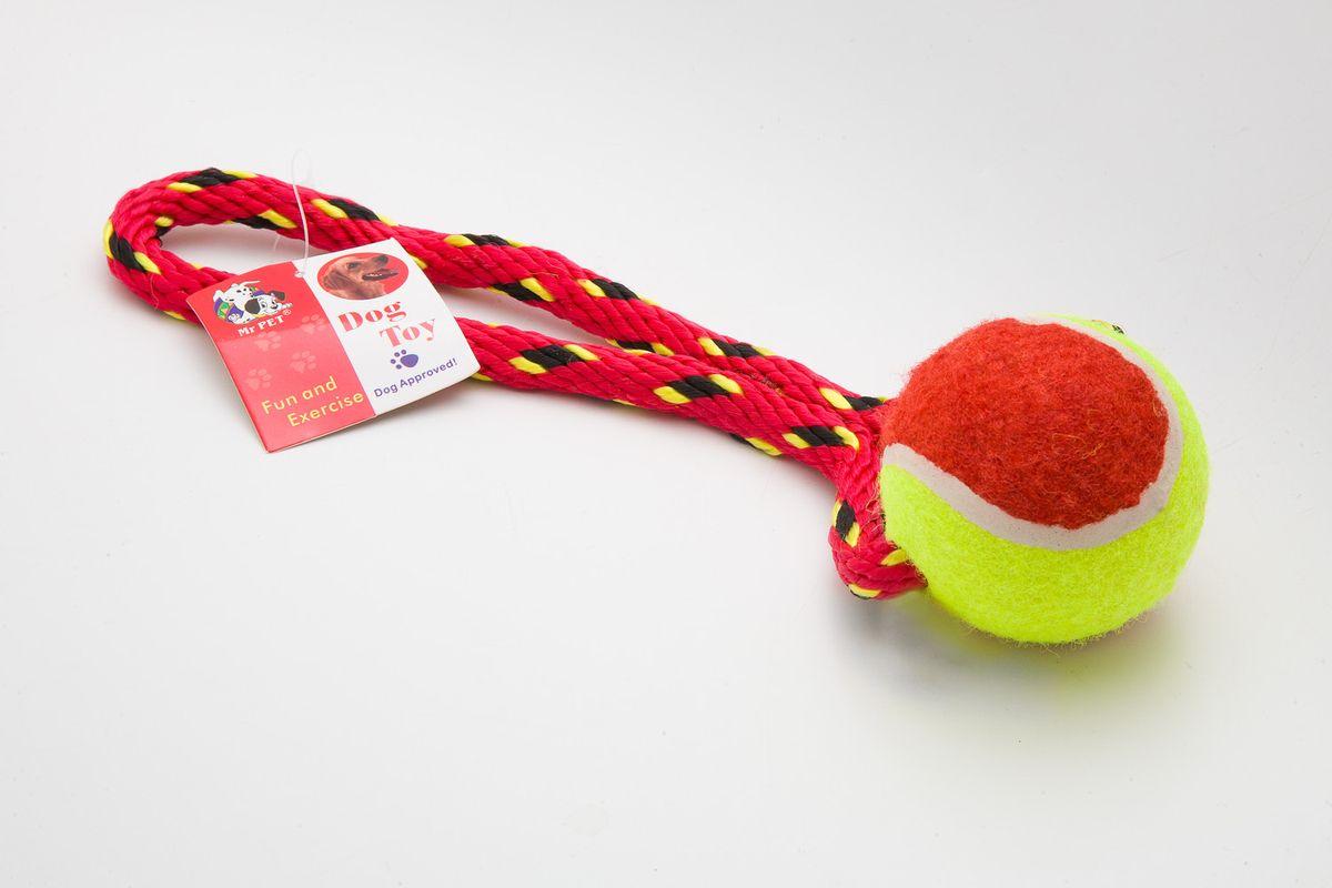 Игрушка канатная MrPet, с теннисным мячом, цвет: красный, 18 см2106b