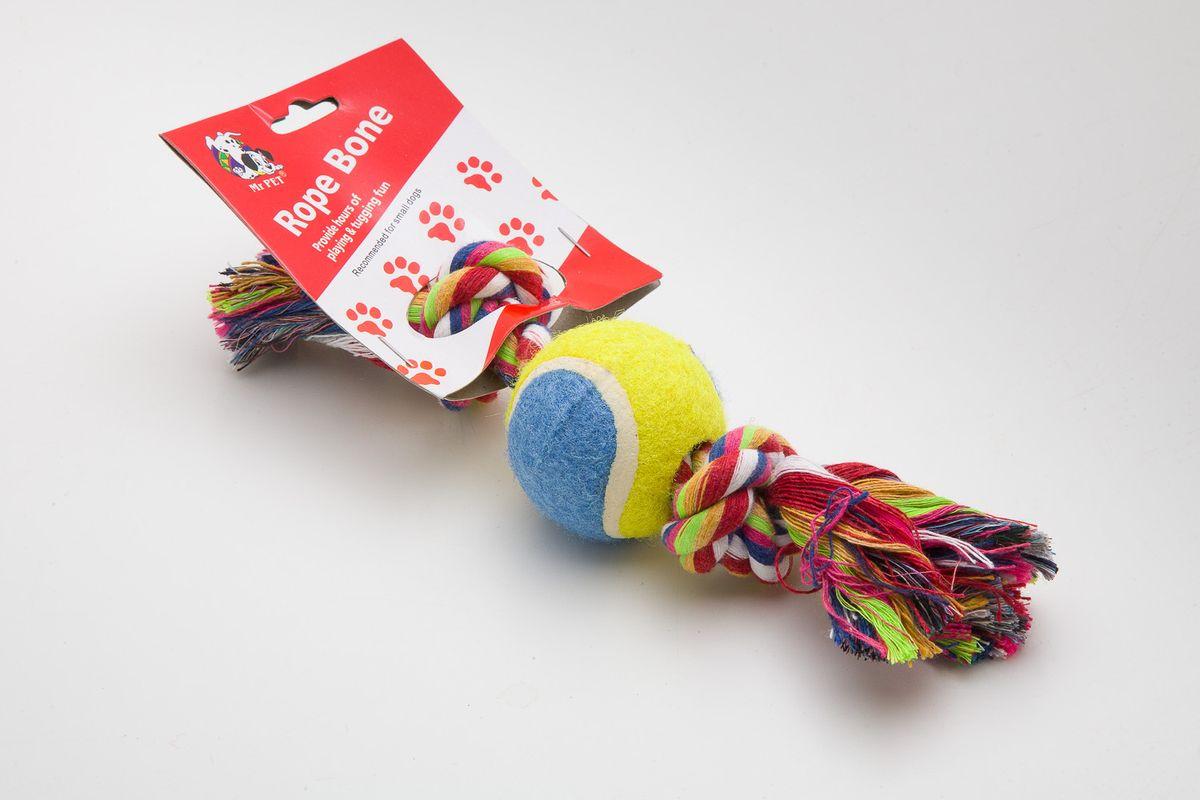 Игрушка канатная MrPet, с теннисным мячом, 18 см. 21082108