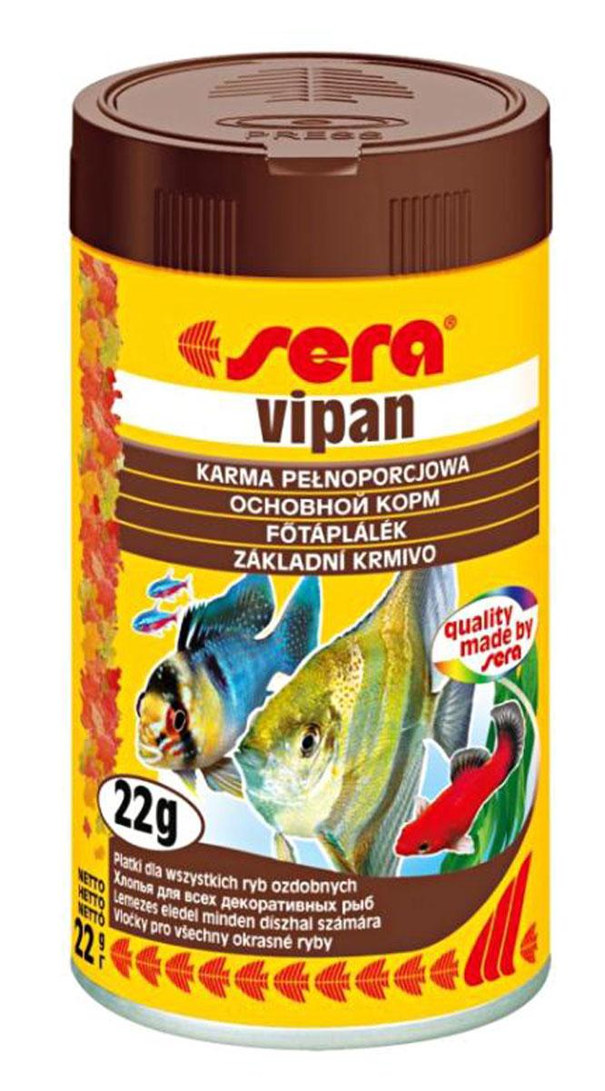 Sera Vipan Корм для декоративных рыб, хлопья 100мл15957Классика - хлопьевидный корм для декоративных рыб в аквариумах со смешанным сообществом. sera випан - идеальный основной корм для рыб в аквариумах со смешанным сообществом. Сбалансированный состав удовлетворяет потребности множества видов. Бережная обработка гарантирует сохранение ценных ингредиентов (например, жирных кислот Омега, витаминов и минералов). Метод его приготовления, применяемый фирмой sera, позволяет хлопьям сохранять свою форму в течение длительного времени, не загрязняя воду. Благодаря уникальной очень высокой степени измельчения, хлопья в тоже время очень нежны и поэтому охотно поедаются рыбой. Доступен в обычной форме и в форме крупных хлопьев.