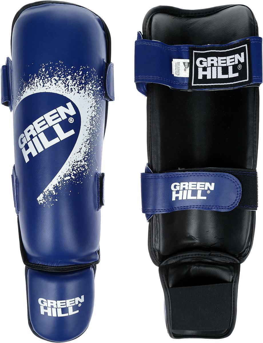 Защита голени и стопы Green Hill Guard, цвет: синий, белый. Размер M. SIG-0012SIG-0012Защита голени и стопы Green Hill Guard с наполнителем, выполненным из вспененного полимера, необходима при занятиях спортом для защиты пальцев и суставов от вывихов, ушибов и прочих повреждений. Накладки выполнены из высококачественной искусственной кожи. Они прочно фиксируются за счет эластичной ленты и липучек. Удобные и эргономичные накладки Green Hill Guard идеально подойдут для занятий тхэквондо и другими видами единоборств. Длина голени: 34 см. Ширина голени: 14 см. Длина стопы: 13,5 см. Ширина стопы: 10,5 см.