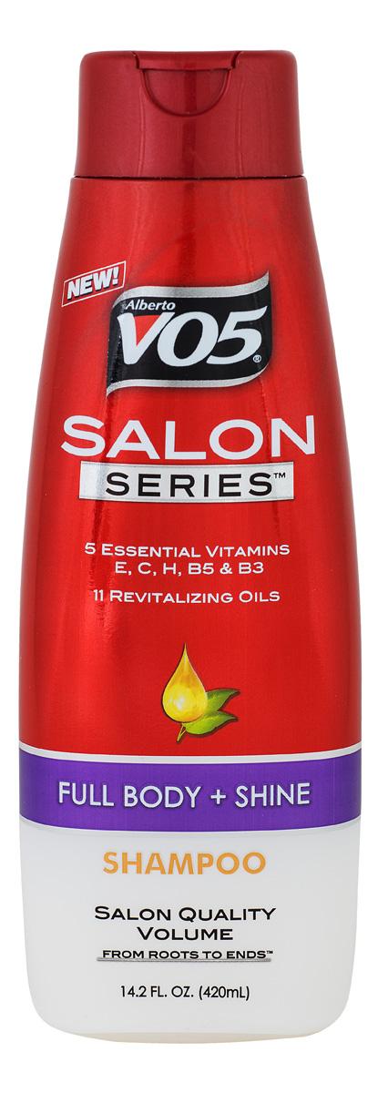 VO5 Шампунь Shampoo Salon Series FULL BODY+ SHINE, 420 мл816559011318Шампунь серии Full body не утяжеляет волосы и обеспечивает видимый эффект сияния от корней до кончиков волос. Облегчает расчесывание и укладку. Стимулирует, увлажняет, питает и защищает волосы от ежедневных стрессов.